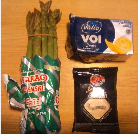 Image for Asparagus with melted butter and parmesan-type cheese